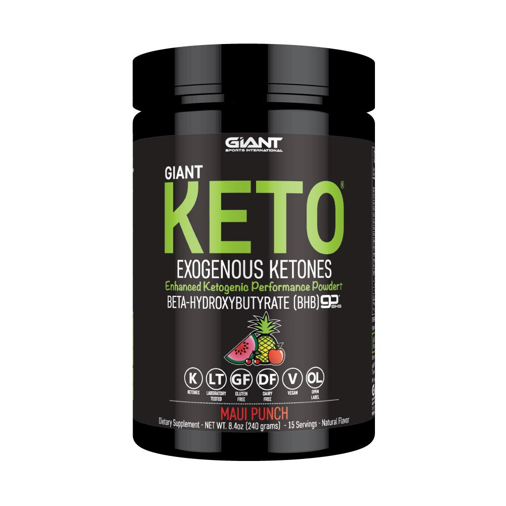 Giant Keto - Exogenous Ketone Supplement - BHB Salt Keto Powder, New and Improved Formula to Support Your Ketogenic Diet, Boost Energy and Burn Fat in Ketosis - Maui Punch - 15 Servings