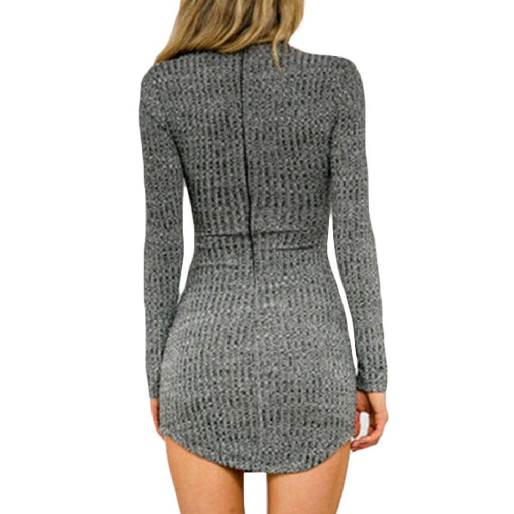D9Q Frauen Reizvolle Dünne Elegante Lange Hülsen Winter Strickjacke  Pullover Stricken Figurbetontes Kleid: Amazon.de: Bekleidung