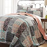 un 3 Piece Girls Teal Blue Coral Pink Patchwork Quilt King Set, Tribal Ikat Bedding Squares Pattern Florals Southwest Native American Lightweight, Reversible Solid Color, Cotton Polyester