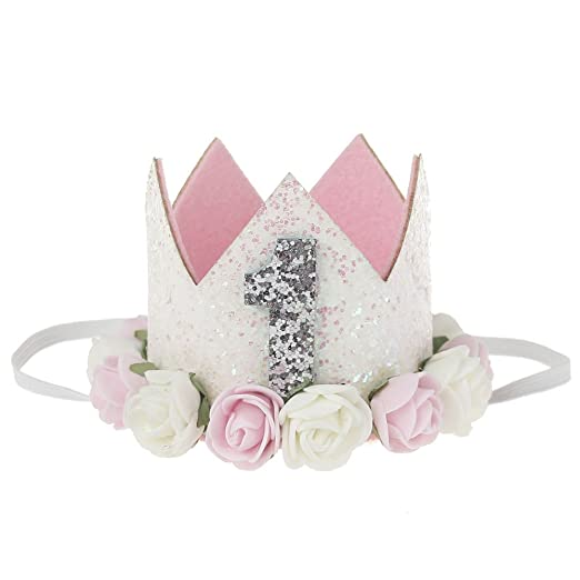 e057db8a803 Golden Swallow Birthday Crown Baby Girl Flower Tiara Headband Birthday Party  Hairband (Flower 1)