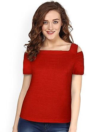 1483b5cef Harshita Creation HC Designer Square Neck Short Sleeve Off Shoulder T-Shirt  for Women Girls Party Wear Stylish Tops T-Shirt