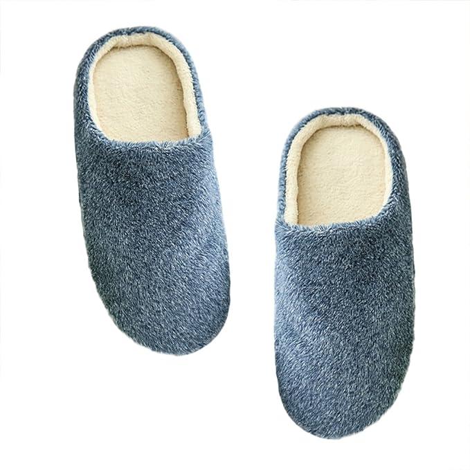 LUOEM Zapatillas de Estar por Casa Hombre Mujer Invierno Pantuflas Zapatillas Peluche Algodón Suave Azul Marino: Amazon.es: Ropa y accesorios