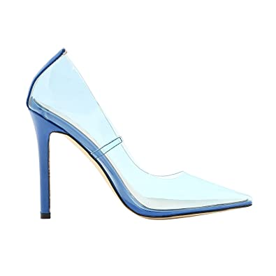 f7d4a52694d Vivi Sexy High Heel Pointed Comfort Blue Transparent Heels Pumps Slip on  Dress Shoes for Girls