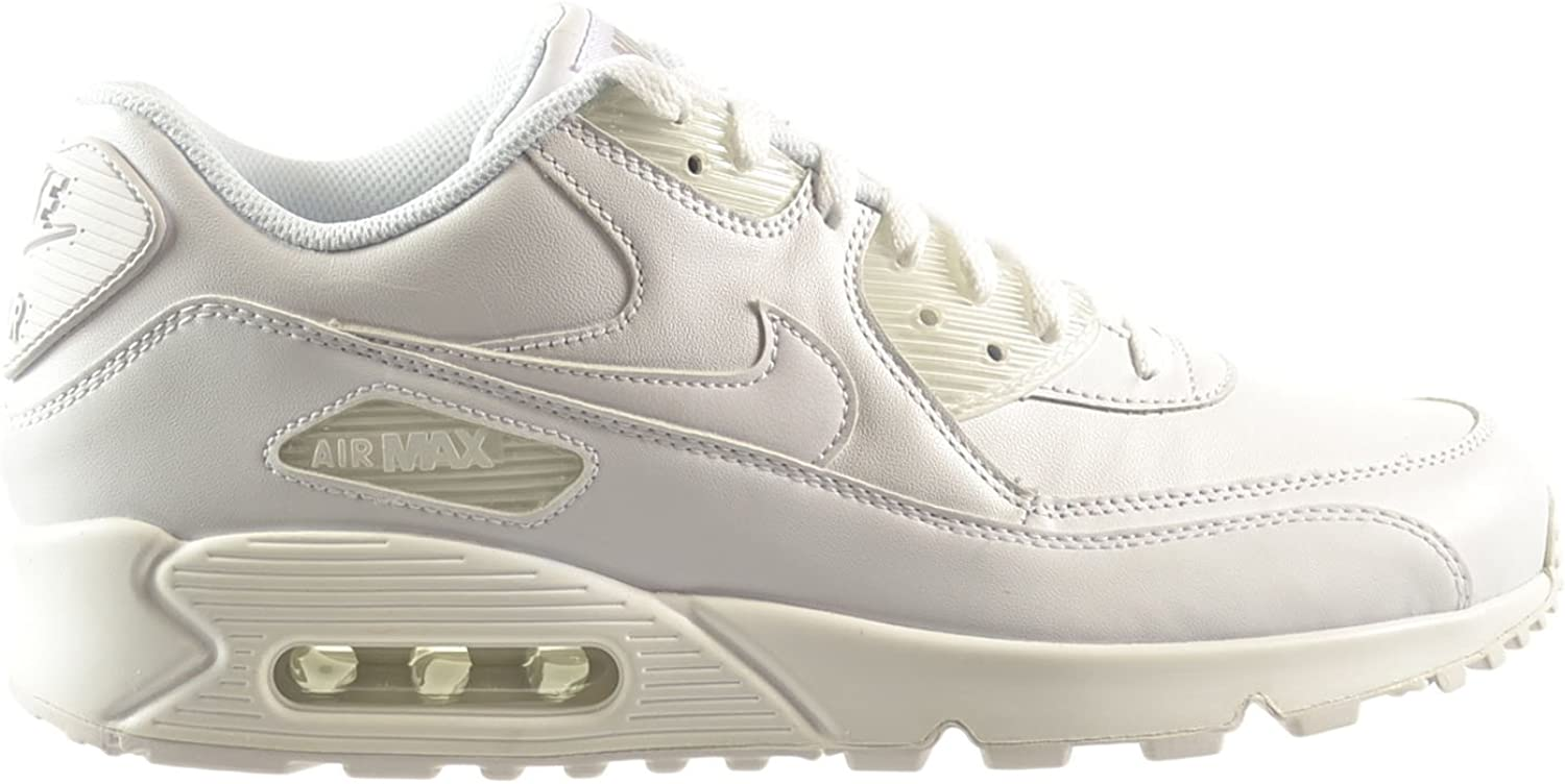 Nike Air Max 90 Leather Men's Shoes WhiteWhite 302519 113