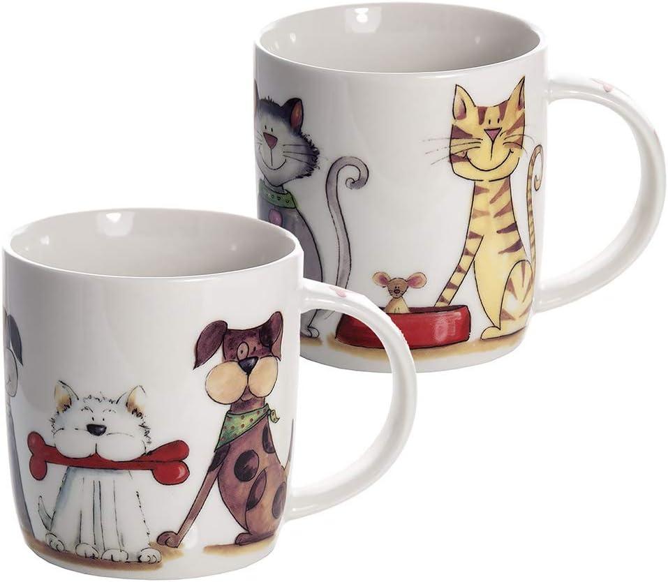 Conjunto 2 Tazas de desayuno originales de café té, blanco con perros y gatos diseño para microondas, regalo para los amantes de los animales perro de gato Set 2 Dog and Cat Mugs Cups Gift
