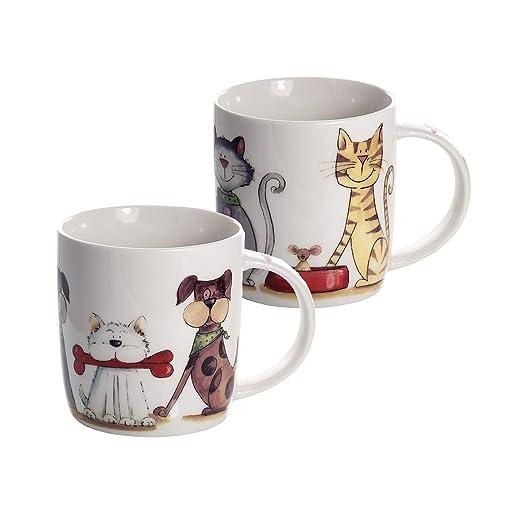 Conjunto 2 Tazas de Desayuno Originales de café té, Blanco con Perros y Gatos diseño para microondas, Regalo para los Amantes de los Animales Perro de ...