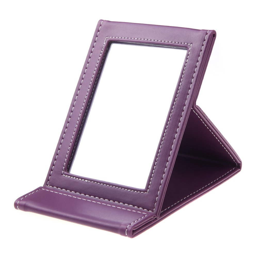 SODIAL(R)Miroir de maquillage cosmetique portable pliable multifonctionnel pour voyage Violet 051638A2