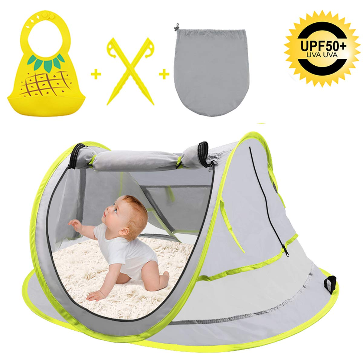 Baby Beach Tent, Portable Baby Travel Bed with Baby bib, Auto Pop Up, UPF 50+ UV Protection, Sun Shelters and Mosquito Net with 2 Pegs, Ultralight Weight Tent for Infant Kids Home and Outside