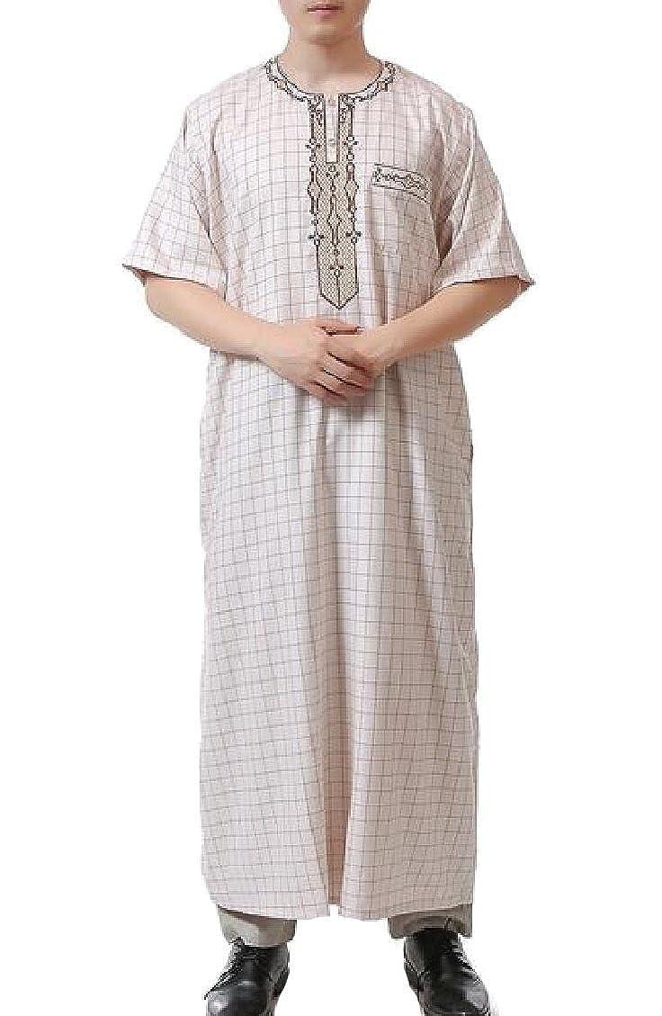 Keaac Mens Loose Short Sleeve Patchwork Muslim Thobes Saudi Style Robes