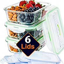 Glass Meal Prep Containers 3 Compartment [3PC SET With 6x No-Spill Lids, BPA FREE] Lunch Containers/ Glass Food Storage Containers Microwave, Dishwasher AND OVEN SAFE. Bento Box Lunch Glass Container.