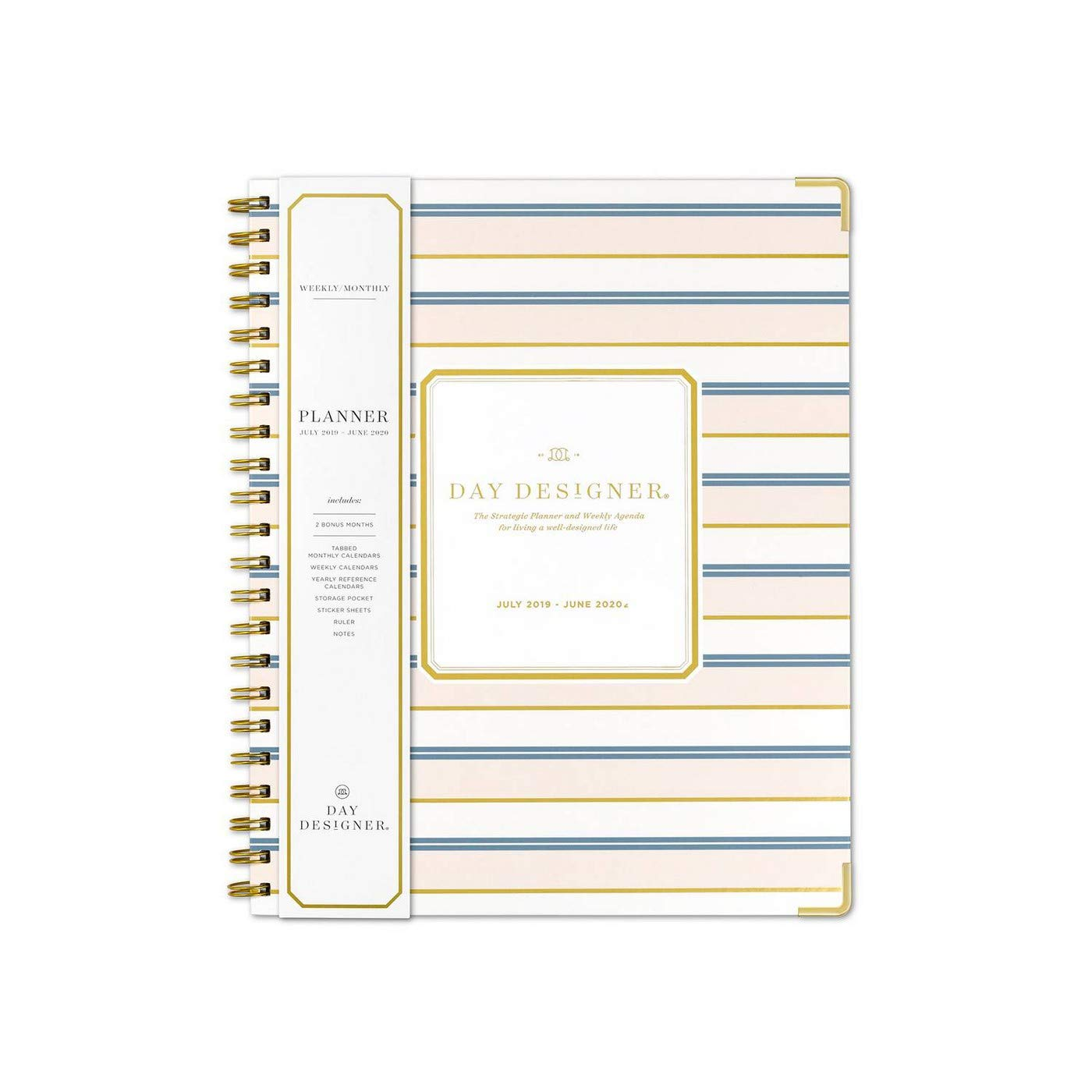 July 2019- June 2020 Vertical Weekly Monthly Planner by Day Designer Large 8 X 11 Hardcover with Gold Corners Stripes and Stylus Pen from ...
