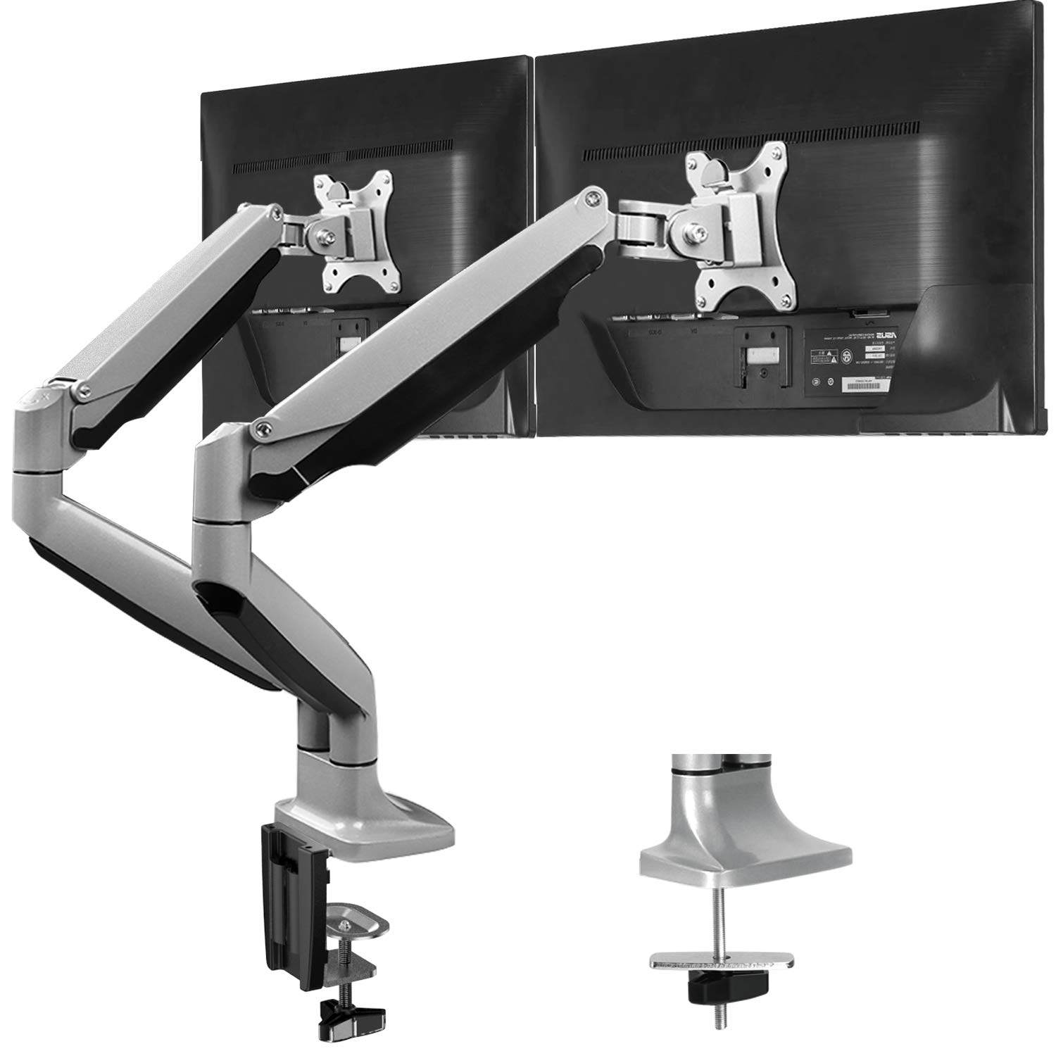 "HUANUO Dual Monitor Mount Stand - Aluminum Gas Spring Monitor Desk Mount Full Motion Adjustable VESA Bracket for Two 13"" to 32"" Computer Screens with Clamp, Grommet Base - Each Arm Hold up to 19.8 lbs"