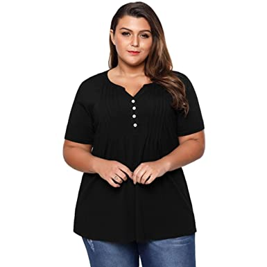 c2ef82a4504 Inverlee Women Plus Size Loose Casual Ruched Button Blouse Summer Short  Sleeve Tee Tops T-