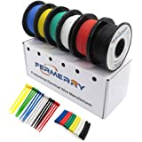 Fermerry 14AWG Silicone Wire Stranded Tinned Copper Wire 14 Gauge Electronic Automotive Hook up Wire 6 Colors 10Ft Each (10 F