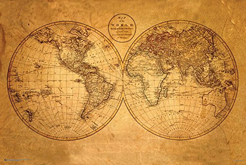 World Map Poster Old (Old World Map Poster 36 x 24in)