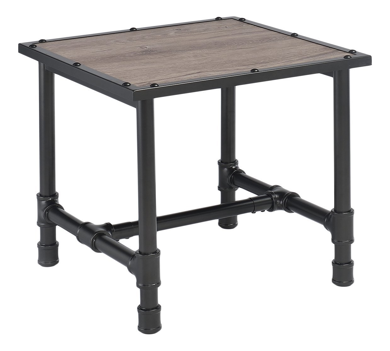Major-Q Industrial Style End Table for Living Room, Rectangular, Wood Rustic and Oak Finish, 24 x 24 x 23 - Major-Q is a registered furniture trademark brand. All Major-Q Products will be covered with Limited Major-Q Warranty. Please buy with confidence. Rustic oak finish - living-room-furniture, living-room, end-tables - 61dP9vRMCOL -