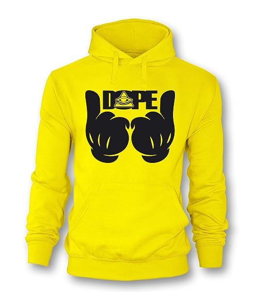 Luckja Dope Dedo Hombres Sudadera con Capucha para Hombre Multicoloured - Yellow/Black: Amazon.es: Ropa y accesorios
