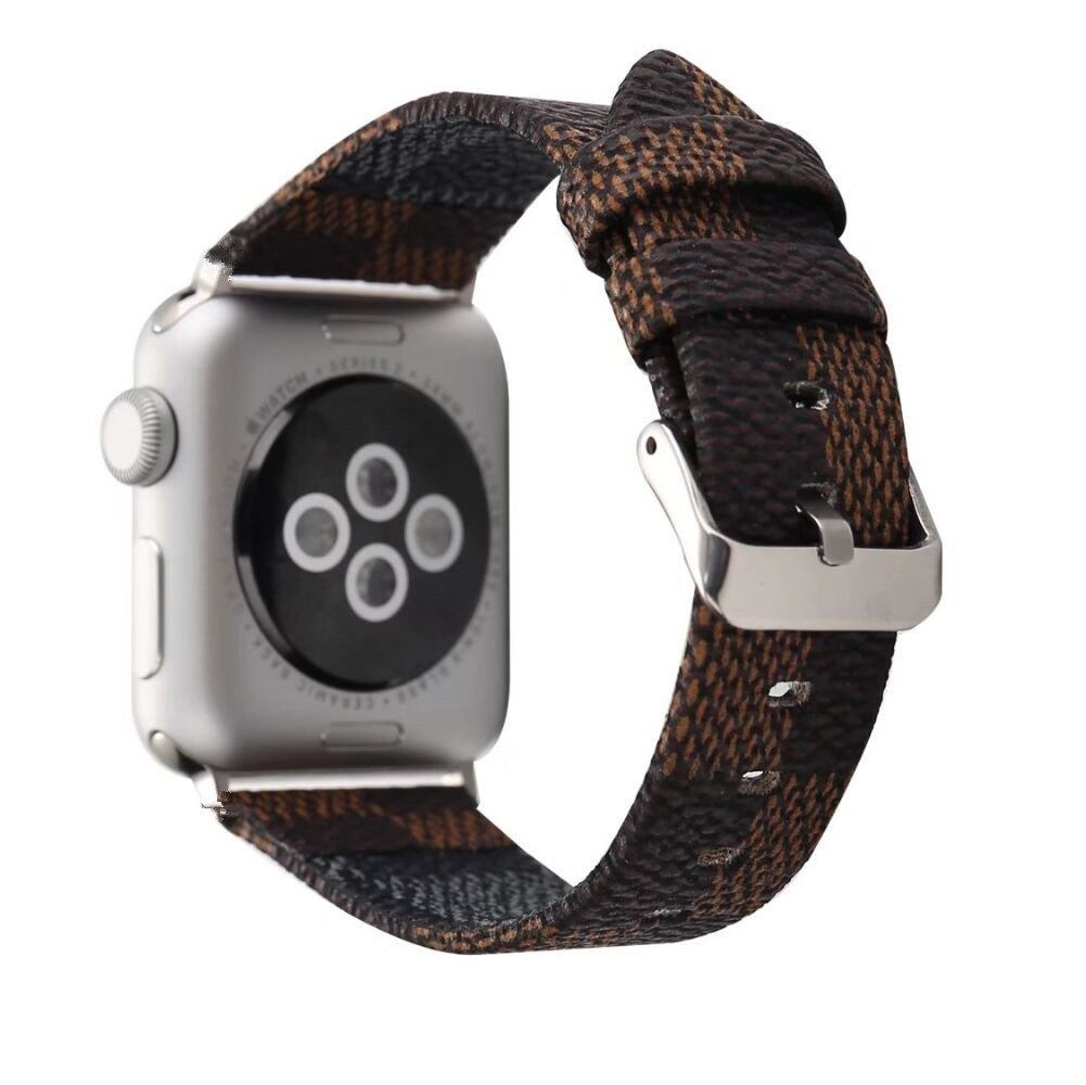 Apple iWatch Leather Series 3 2 1 38mm Replacement Wristband Fashion Plaid Style Strap Wrist Band Metal Adapter Classic Buckle (Brown 38mm)
