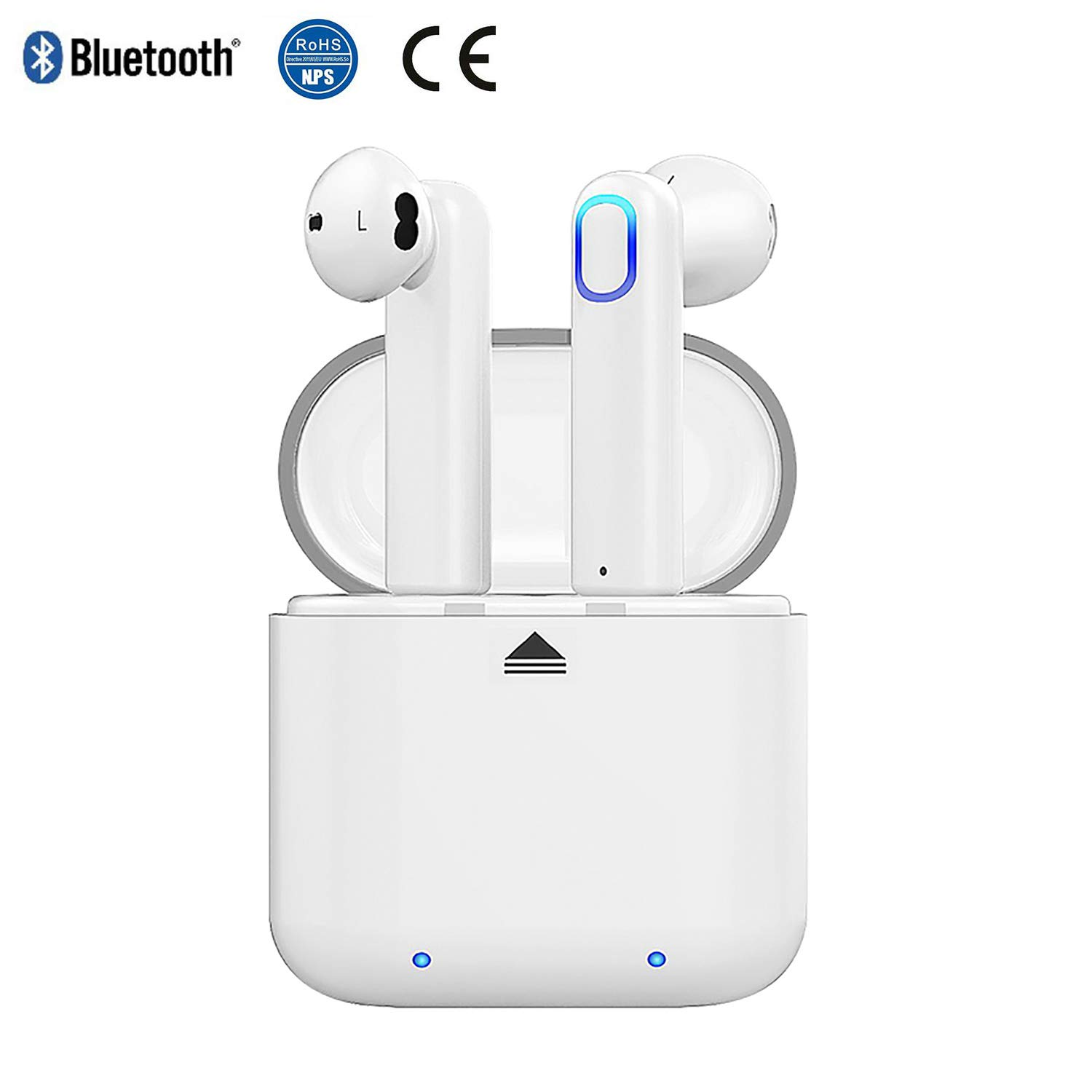 Bluetooth Earbuds Wireless Headset Headphones Invisible Cordless Rechargeable Earpiece for Laptop Smartphone Tablet Gaming Office Outdoor Voyager with HiFi 3D Stereo Sound White
