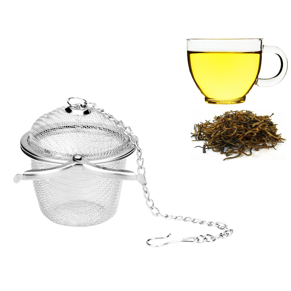 Ilyever Stainless Steel Mesh Tea Bag Strainer filter Infuser for Loose Leaf Grain Tea Cups, Mugs, and Teapots by ilyever (Image #1)