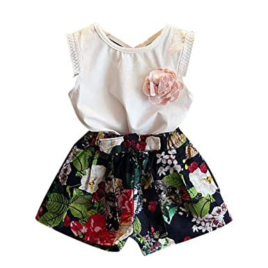424c2ad1 T-Shirt Trendy Girl Dresses 2PCS Kids Baby Girls Outfit Clothes Vest T-Shirt+Floral  Shorts Pants Set: Amazon.co.uk: Clothing