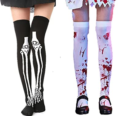 Opaque Thigh Highs Stockings Satin Bow Halloween Costume Spiderweb Lined Tights