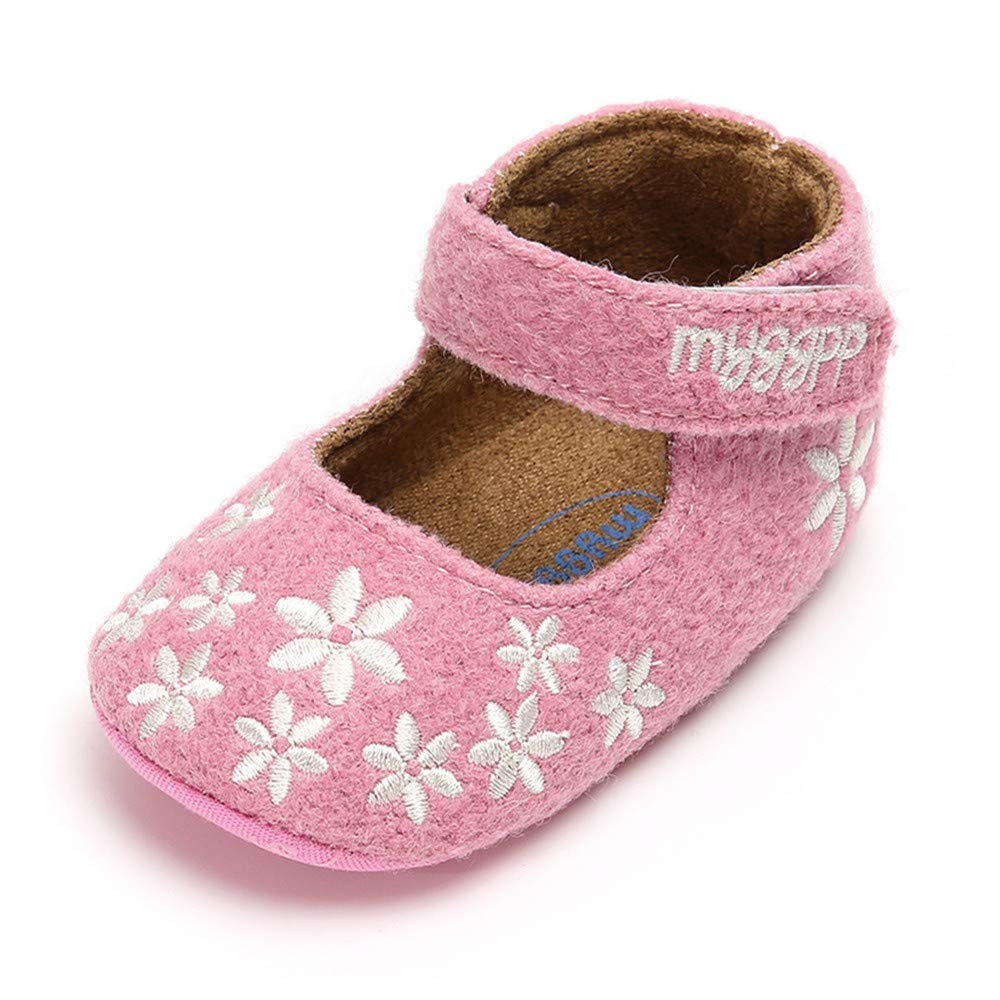 Isbasic Baby Girls Mary Jane Shoes Soft Sole Non-Slip Toddler First Walkers Moccasins (12-18 Months, Pink)