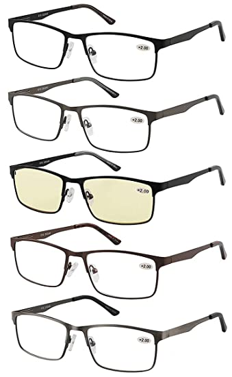 86bed23bf72 Eyecedar 5-Pack Reading Glasses Men Rectangle Frame Metal Spring Hinges  Stainless Steel Material Includes