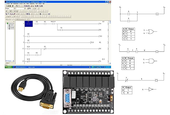 PLC Professional Study Course Starter Kit Ladder Logic Software &  Controller 20 I/O, 24V, USB interface