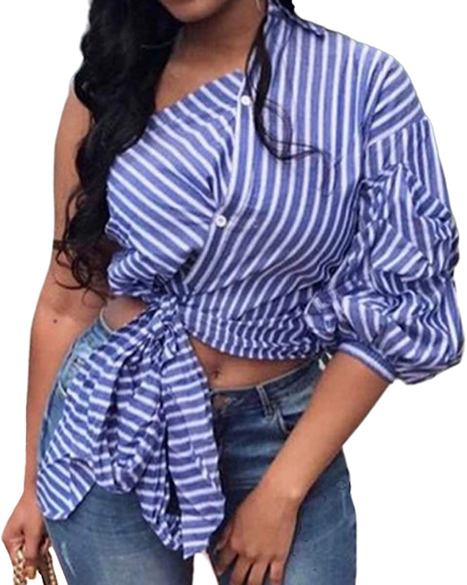 Women's One-Side Sleeve Blouses Irregular Stripe Print Button Down Shirts Tie Knot Crop Tops
