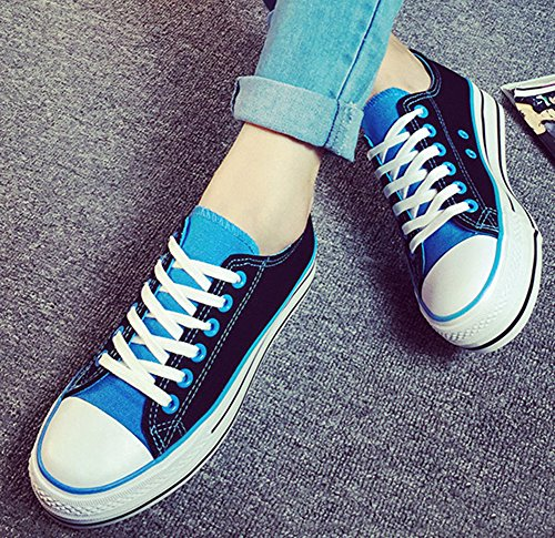 Aisun Womens Stylish Contrast Canvas Sneakers Blue 7na8M1