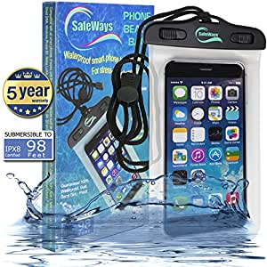 SafeWays Waterproof Seal Case Compatible With All iPhone Models, Samsung, HTC, Sony, Nokia - All Phones/Tablets/iPods/Cameras Up To 7-Inch