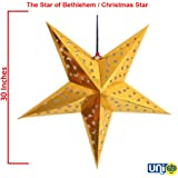 Selling Uniqness UNIq Card Paper Hollow Out Design Star for Lampshade Christmas Decoration LED Light (30 Inches, Golden)