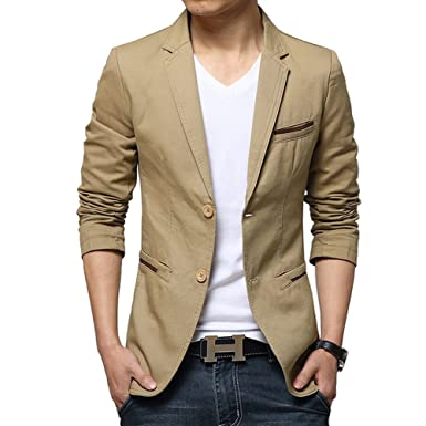 iPretty Mens Suit Jacket Fashion Slim Cotton Thin Casual Two Buttons Blazer Coat