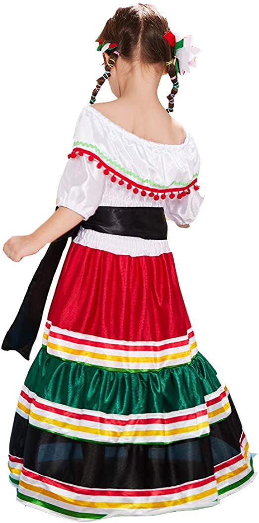 ReneeCho Disfraz Mexicano para niña de Halloween, Traje ...