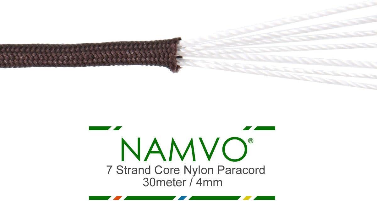 Namvo r/éfl/échissant Corde Parachute 100 FT 7 Noyau 550 Paracorde Nylon Strand Paracord Camping 30 M/ètre Rose Rouge