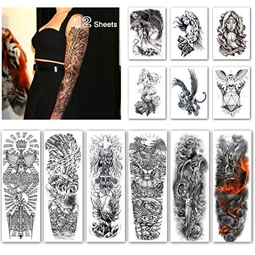 Leoars Full Sleeve Temporary Tattoos Angel Theme -