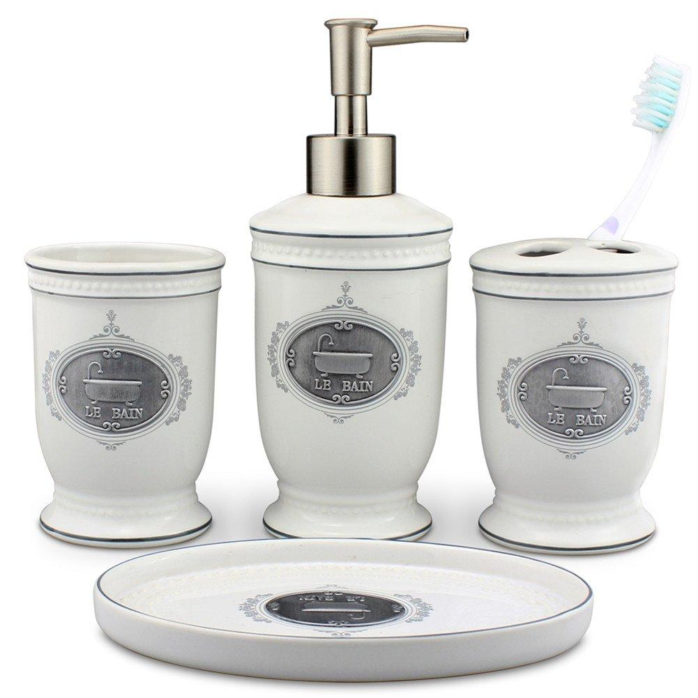Singoracer Matt White Ceramic Bath Accessory Set, Soap Dispenser Pump, Toothbrush Holder, Tumbler, Soap Dish,4 Pieces with LE BAIN Steel Decoration