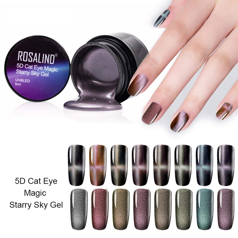 cary-yan 5D Cat Eye Gel Polish with Magnet, Cat Eye Gel Nail Polish Set and Starry Sky Soak Off UV Gel Nail Art Manicuring Ordinary by cary-yan
