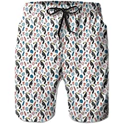 Qpkia Tropical Rainforest Summer Toucans Men Bathing Suits Pants Pocket