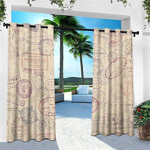 - leinuoyi Vintage, Outdoor Curtain Panel Design, Retro Design Inspired Postage Illustration with Beige Background Antique Stamps, Fashions Drape W108 x L96 Inch Multicolor