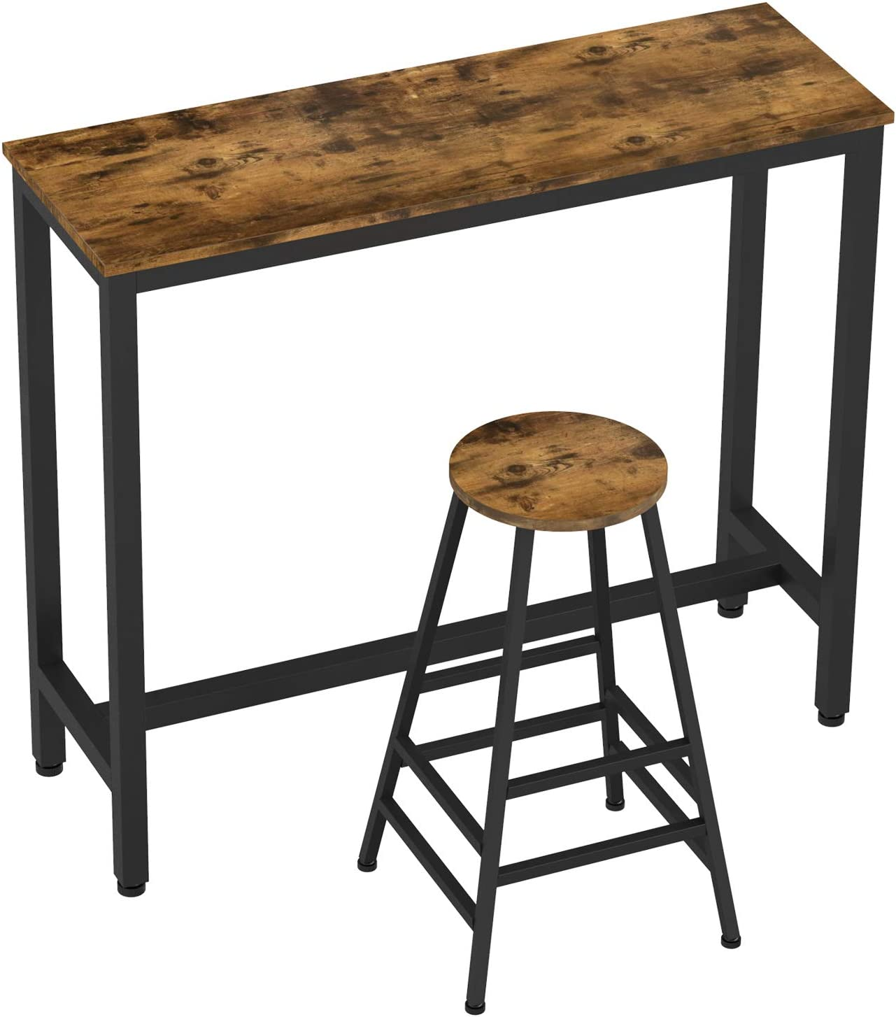 IRONCK 2-Piece Pub Bar Table Set, 47.2 L 15.7 W 39.4 H Industrial High Top Table with Bar Stool Chair, MDF Board and Metal, Vintage Brown