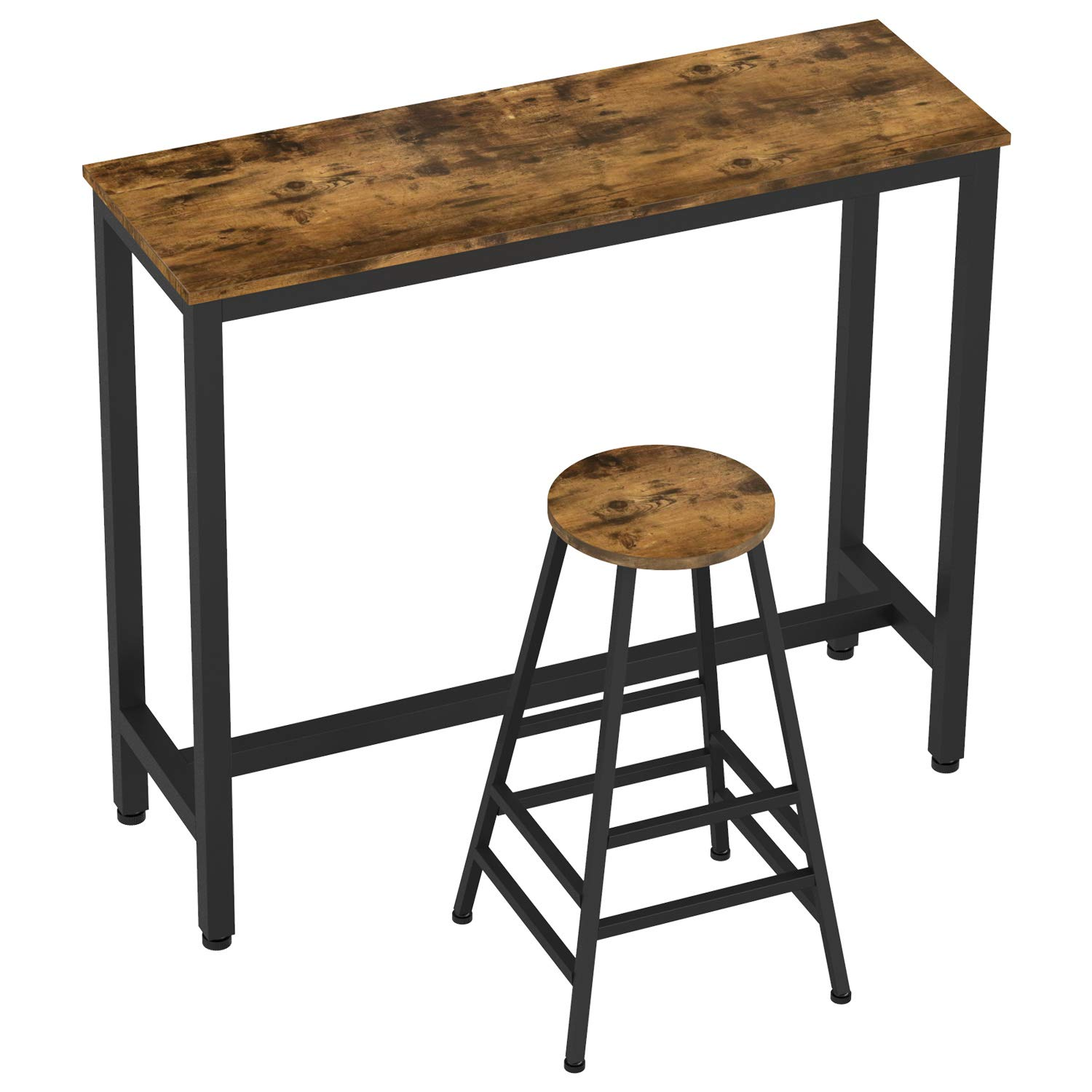 IRONCK 2-Piece Pub Bar Table Set, (47.2''L 15.7'' W 39.4'' H) Industrial High Top Table with Bar Stool Chair, MDF Board and Metal, Vintage Brown by IRONCK