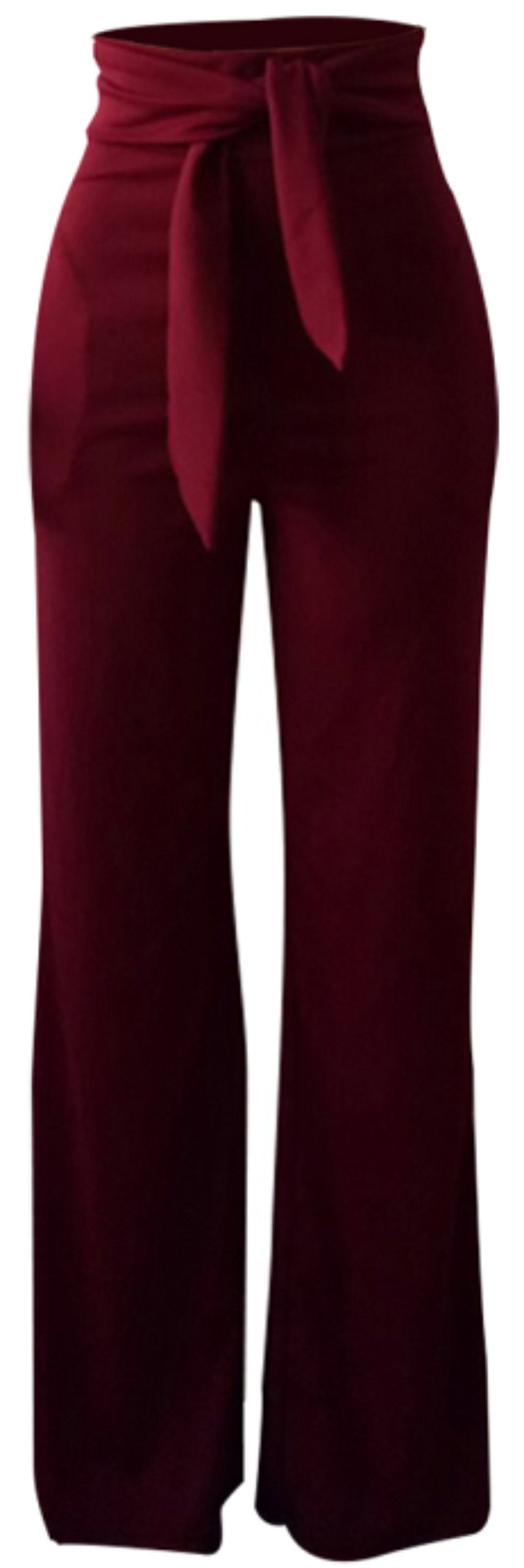 Shinfy Women Legging Pants with Ties Plus Size High Waist Stretch Straight Wide Long Pants Wit Belts
