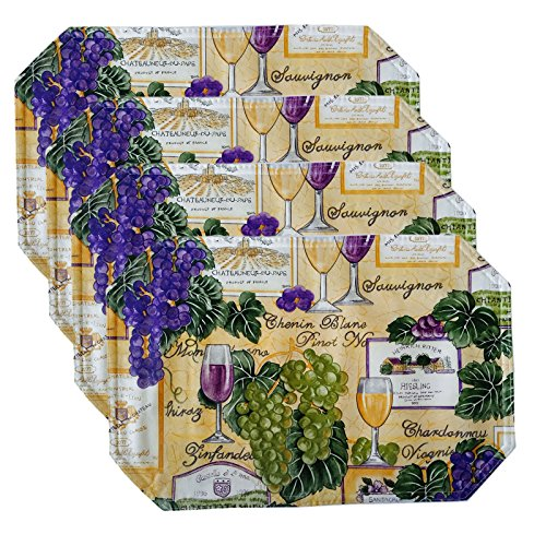 Wine Cellar Pattern Vinyl Reversible Placemat Set - Set of 4