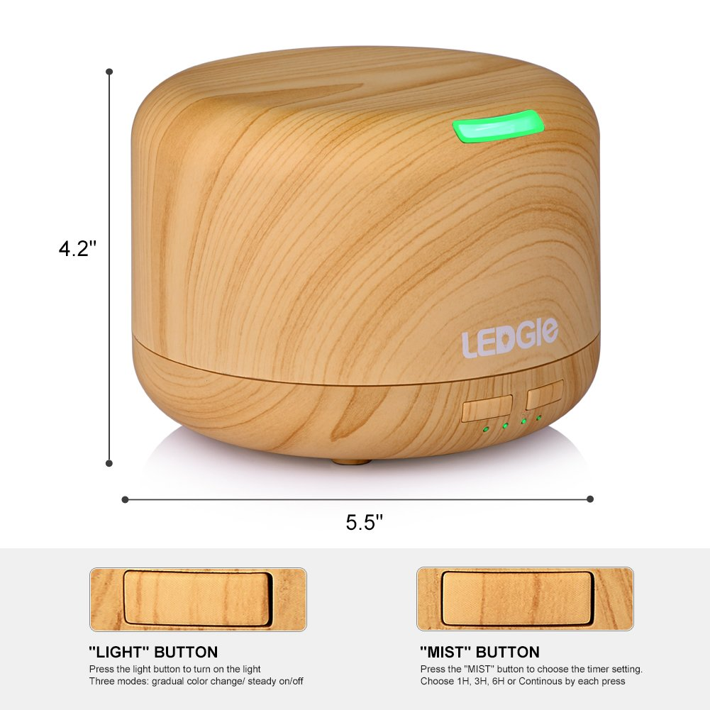 Ledgle Wood Grain Essential Oil Aroma Diffuser Whisper Quiet Cool Mist Air Purifier Ultrasonic Humidifier with 7 Color LED Lights Changing and 4 Timer Settings, Waterless Auto Shut-off - 400ml …