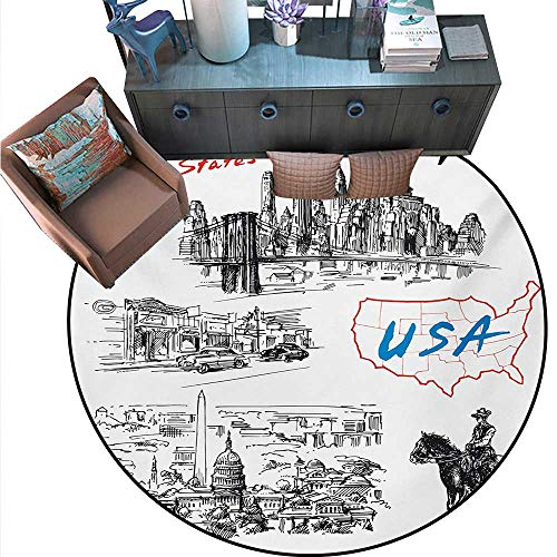 American Print Area Rug Hand Drawn USA Map Nostalgic Landscapes Skyscrapers Cowboy with Horse Metropolis Home Decor Foor Carpe (71