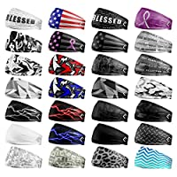 20+ Designs! Unisex Headband / Sweatband. Best for Sports, Fitness, Working Out, Yoga. Tapered Design.