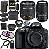 Nikon D5300 DSLR Camera with AF-P 18-55mm VR Lens (Black) 55-300mm f/4.5-5.6G ED VR Lens + EN-EL14 Replacement Lithium Ion Battery + External Rapid Charger + Carrying Case Bundle