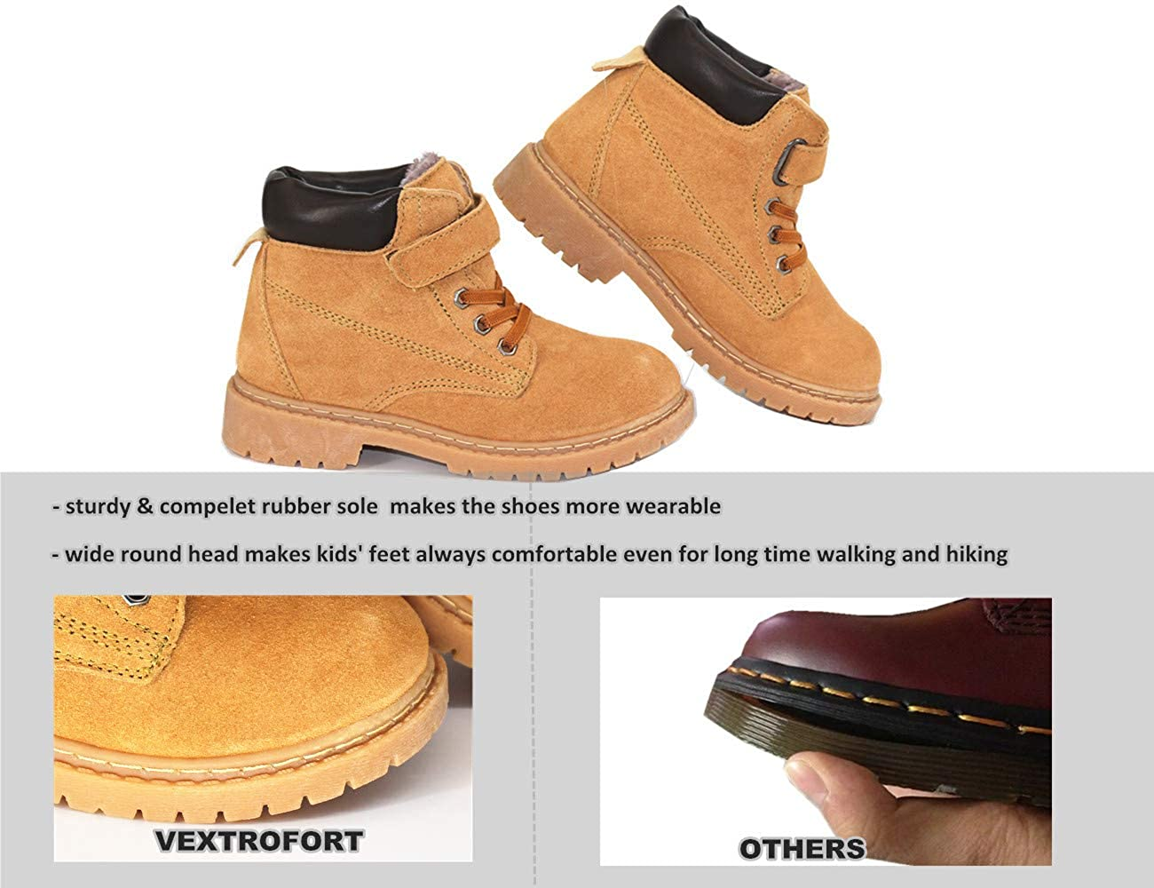 Khaki//Black Winter Outdoor Waterproof Hiking Leather Boot for Boys Girls Vextrofort Kids Boots Little Kids//Big Kids